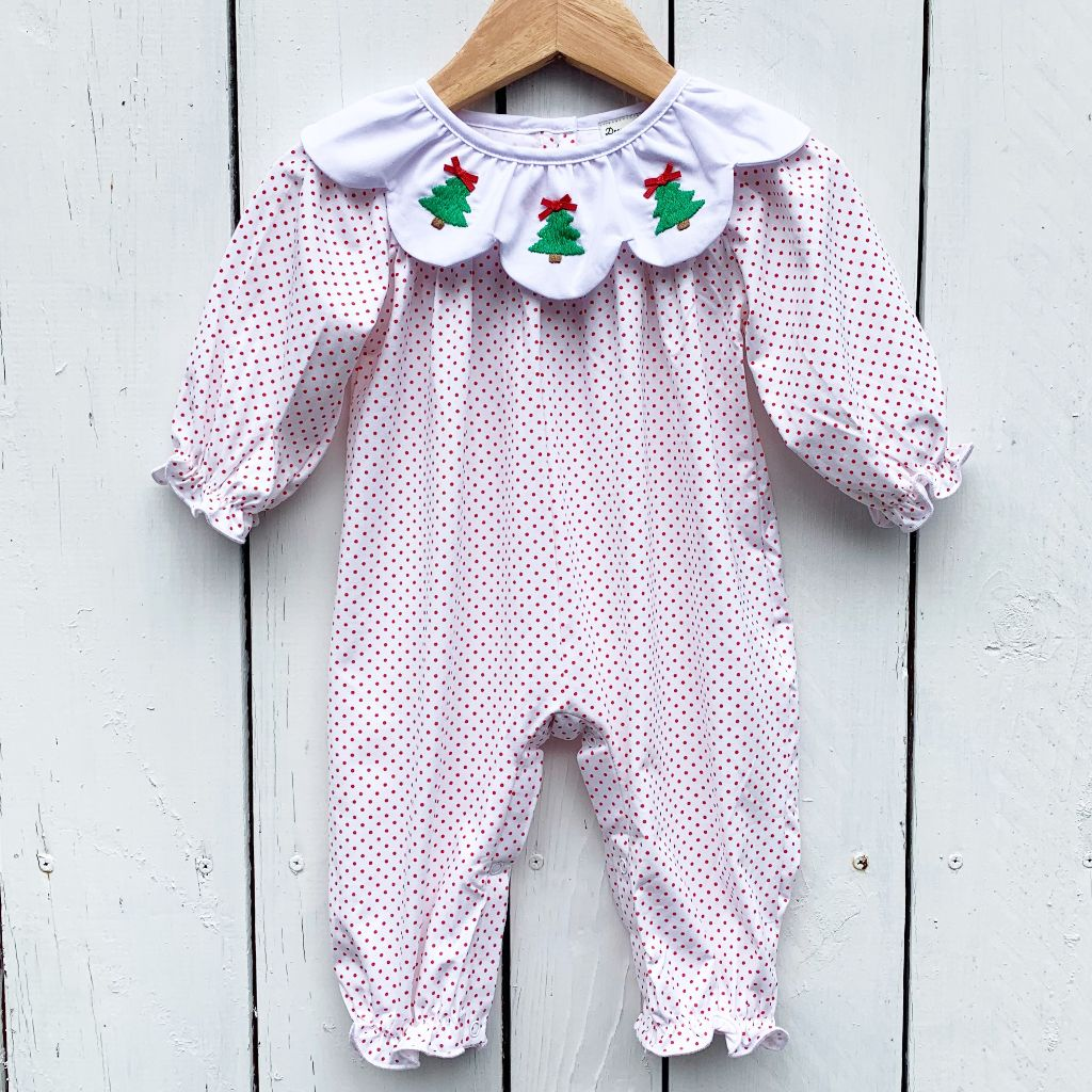 Baby Infant Girls Knit Christmas Tree Bubble Romper