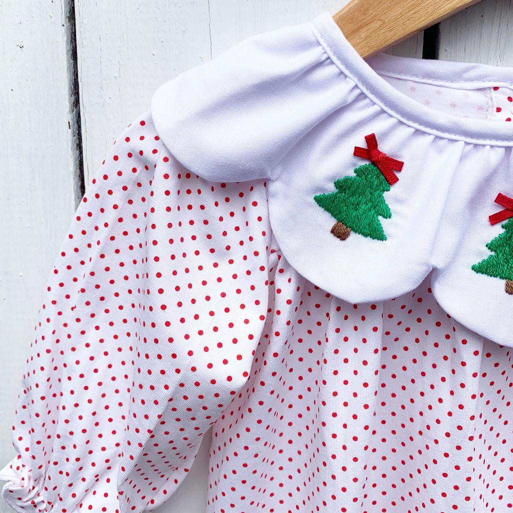 Hand embroidered Christmas Tree Knit Bubble for Girls