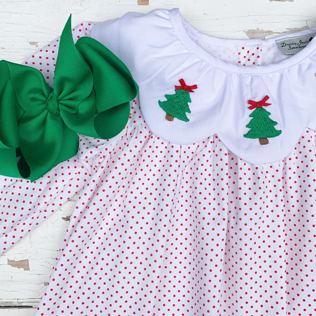 Girls Hand Embroidered Christmas Tree Dress
