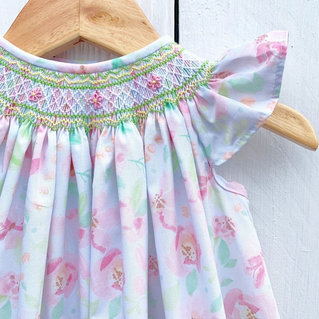 Hand Smocked Floral Easter Bishop Dress