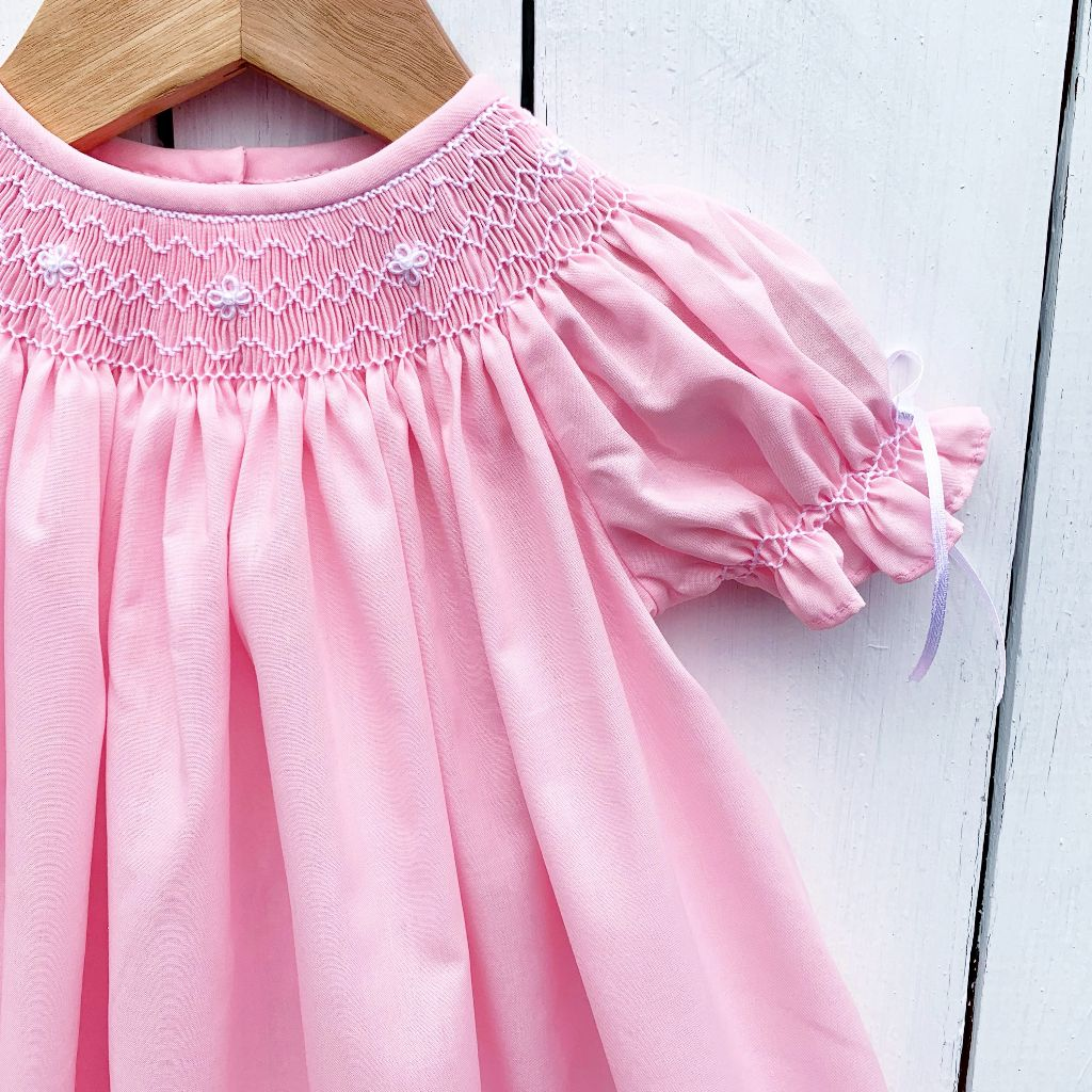 Smocked Pink Bubble with Pearls and Ribbons Heirloom