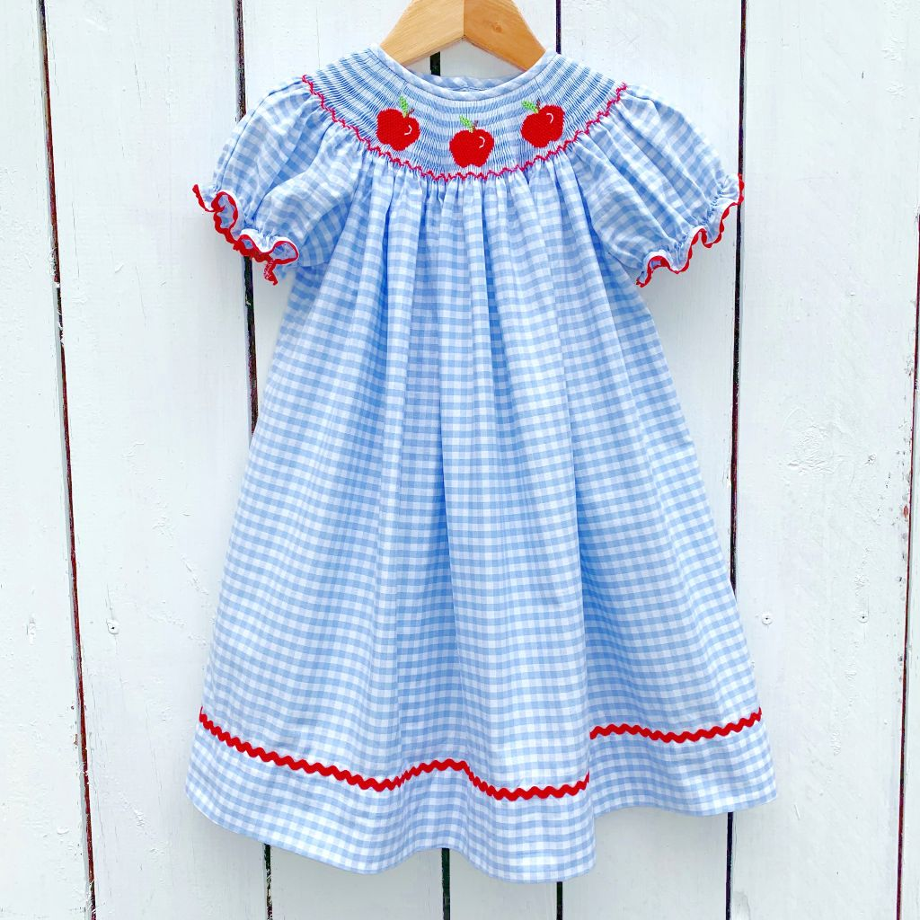 Girls Blue Gingham Smocked Apple Bishop