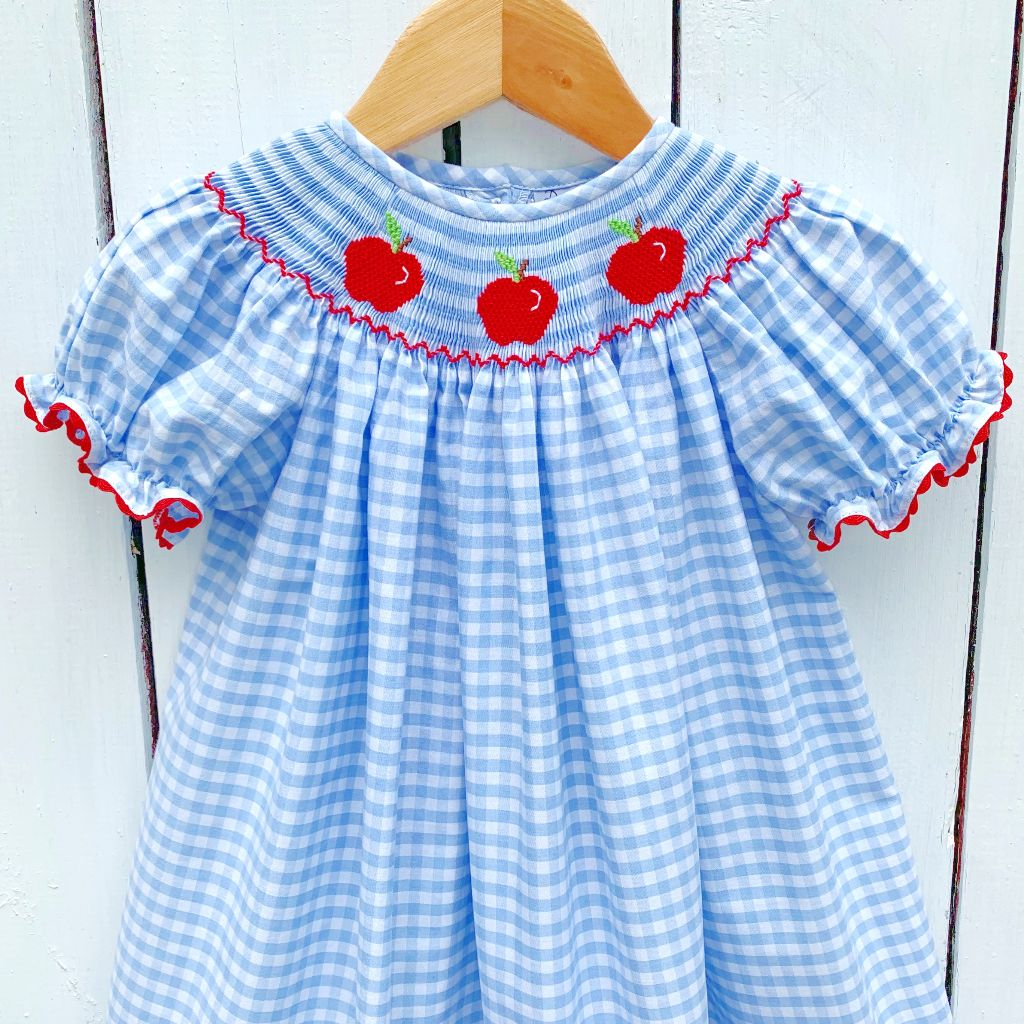 Blue Gingham Smocked Apple Bishop