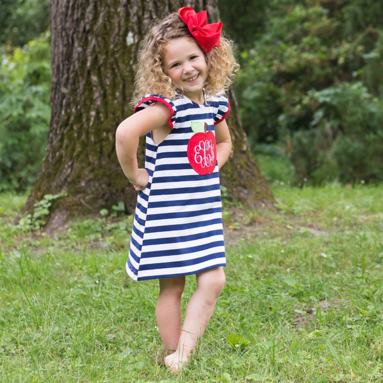 Navy Stripe Knit Apple Appliqué Dress