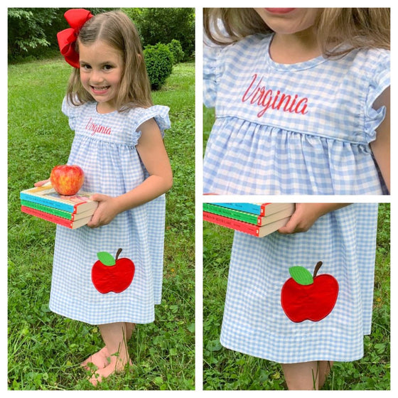 Girls Back to School Dress Red Apple Applique Monogram