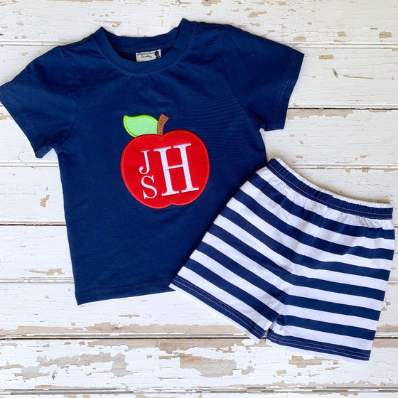 Boys Back To School Apple Shirt and Shorts Set