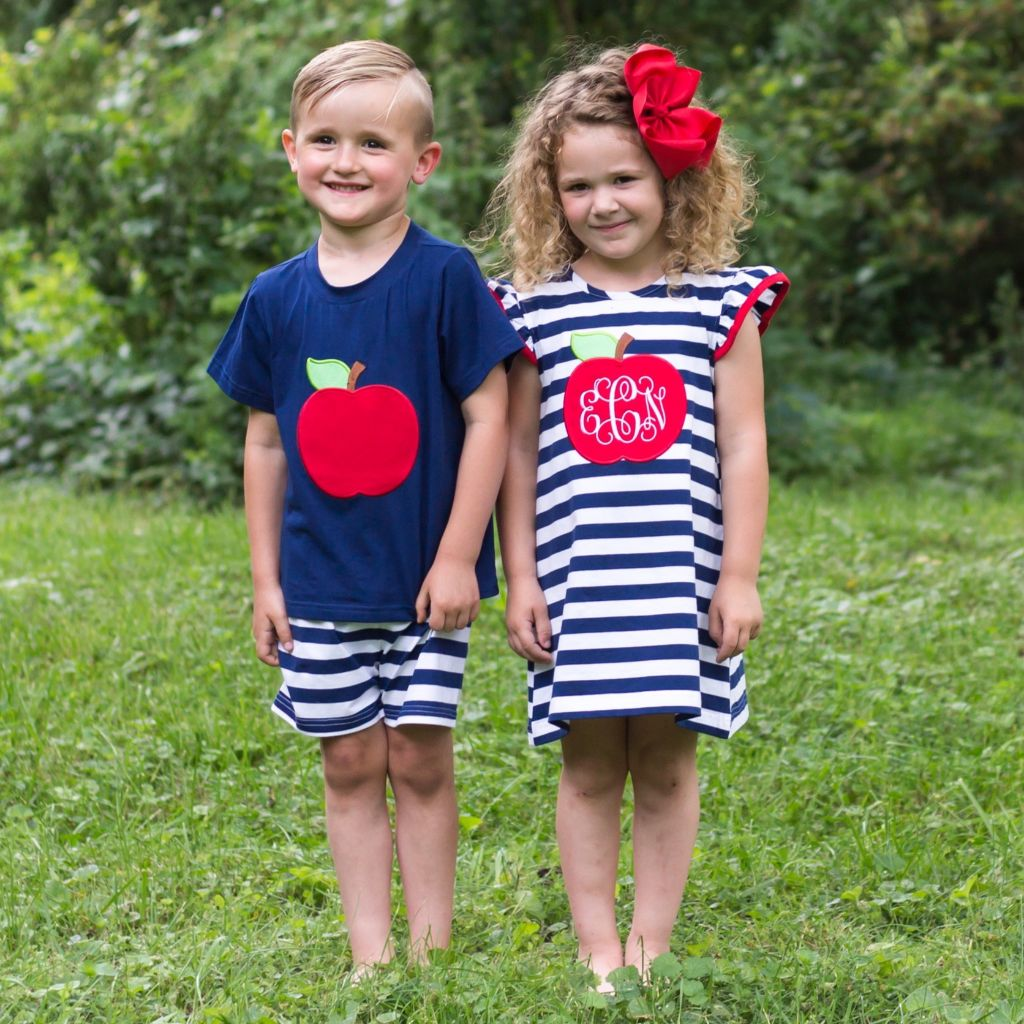 Apple Appliqué Knit Back to School Outfits