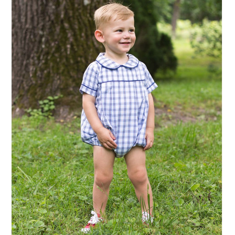 Baby Toddler Boys Blue Plaid Bubble