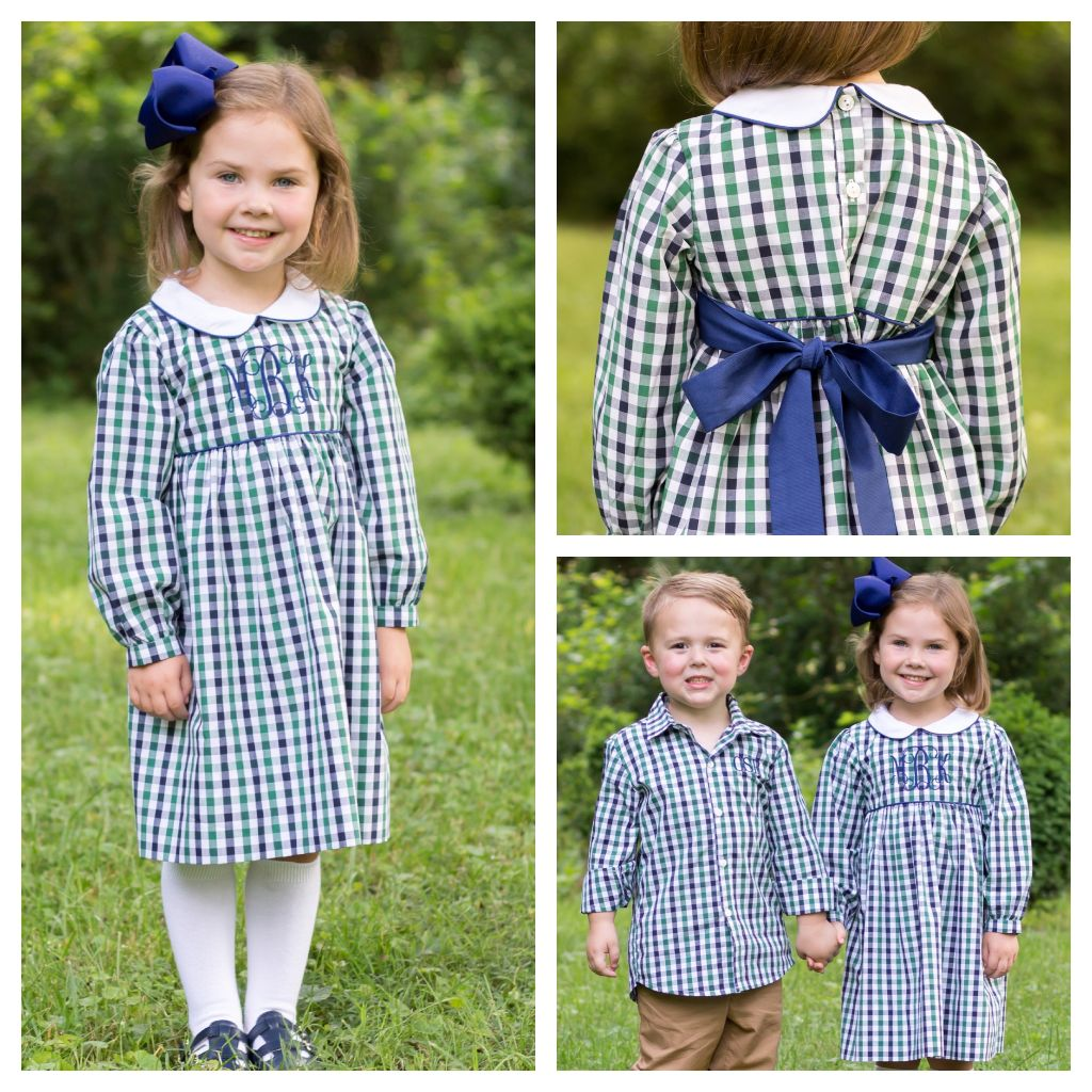 Girls Blue Green White Gingham Check Dress Free Monogram
