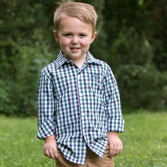 Boys Blue Green White Gingham Check Button Front Shirt
