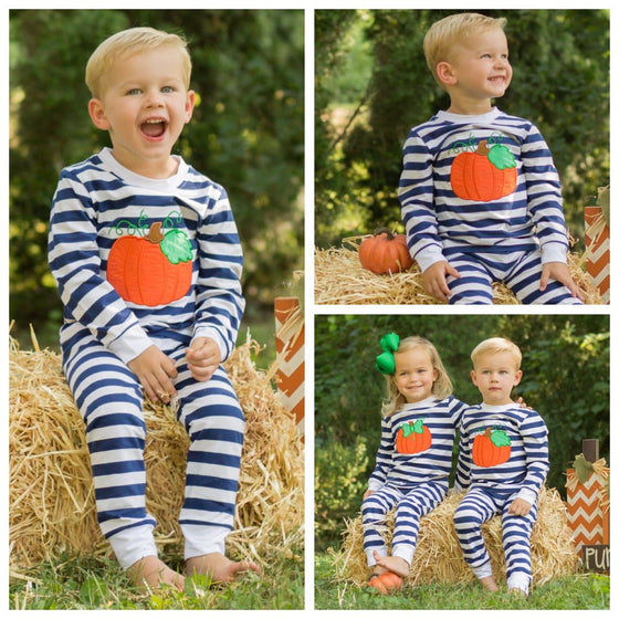 Boys Pumpkin Applique Pajamas PJ's Loungewear