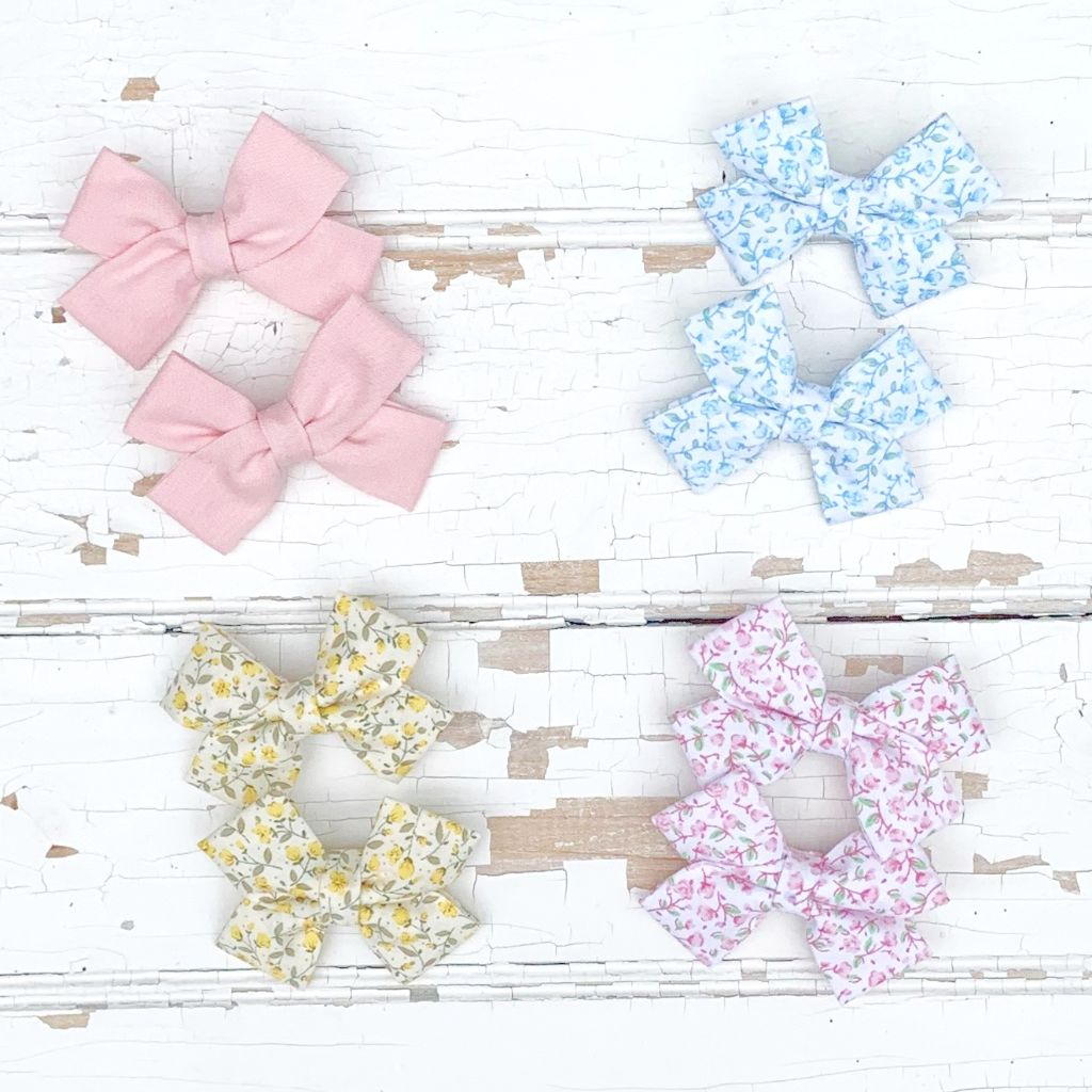 Infant Baby Toddler Girl Fabric Hair Bows Pigtail Set