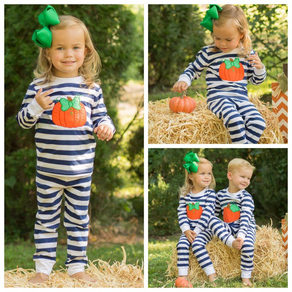Girls Pumpkin Applique Pajamas PJ's Loungewear Set