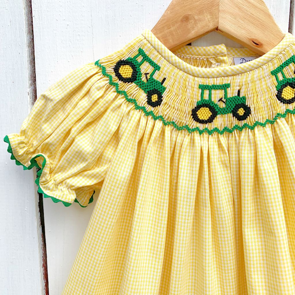 John Deere Tractor Smocking Infant Baby Toddler Girls Smocked Bubble