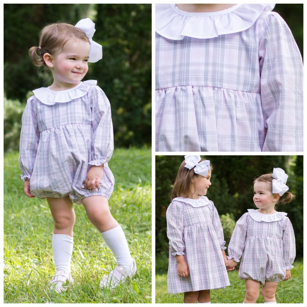 Baby Toddler Girls Pink Gray White Plaid Bubble with Collar