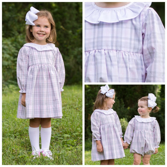 Girls Pink Gray White Plaid Dress with Ruffled Collar