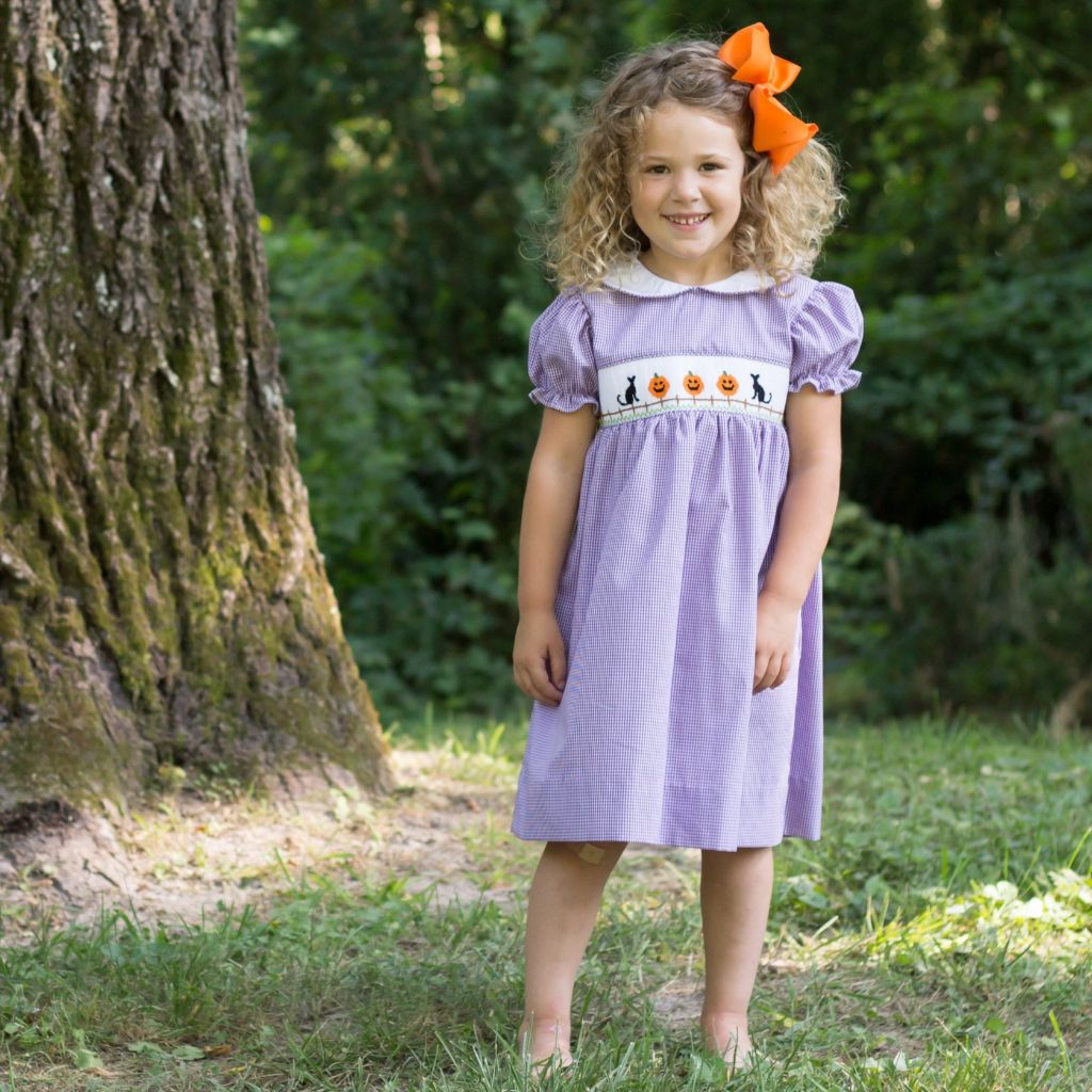 Girls Smocked Halloween Dress Pumpkins Black Cats Fence