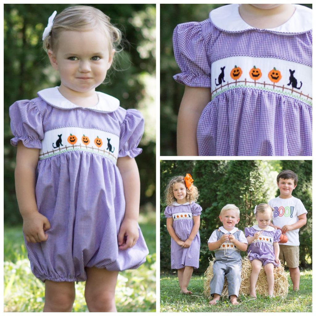 Girls Smocked Halloween Bubble
