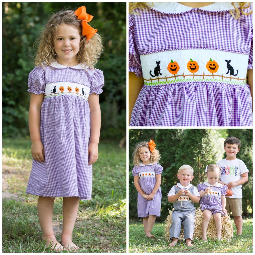 Girls Purple Gingham Smocked Halloween Dress