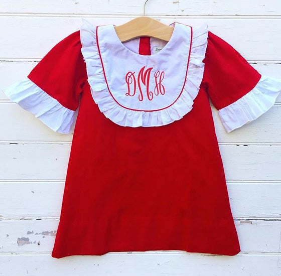 Classic Red Corduroy Dress - Dressie Jessie Smocking