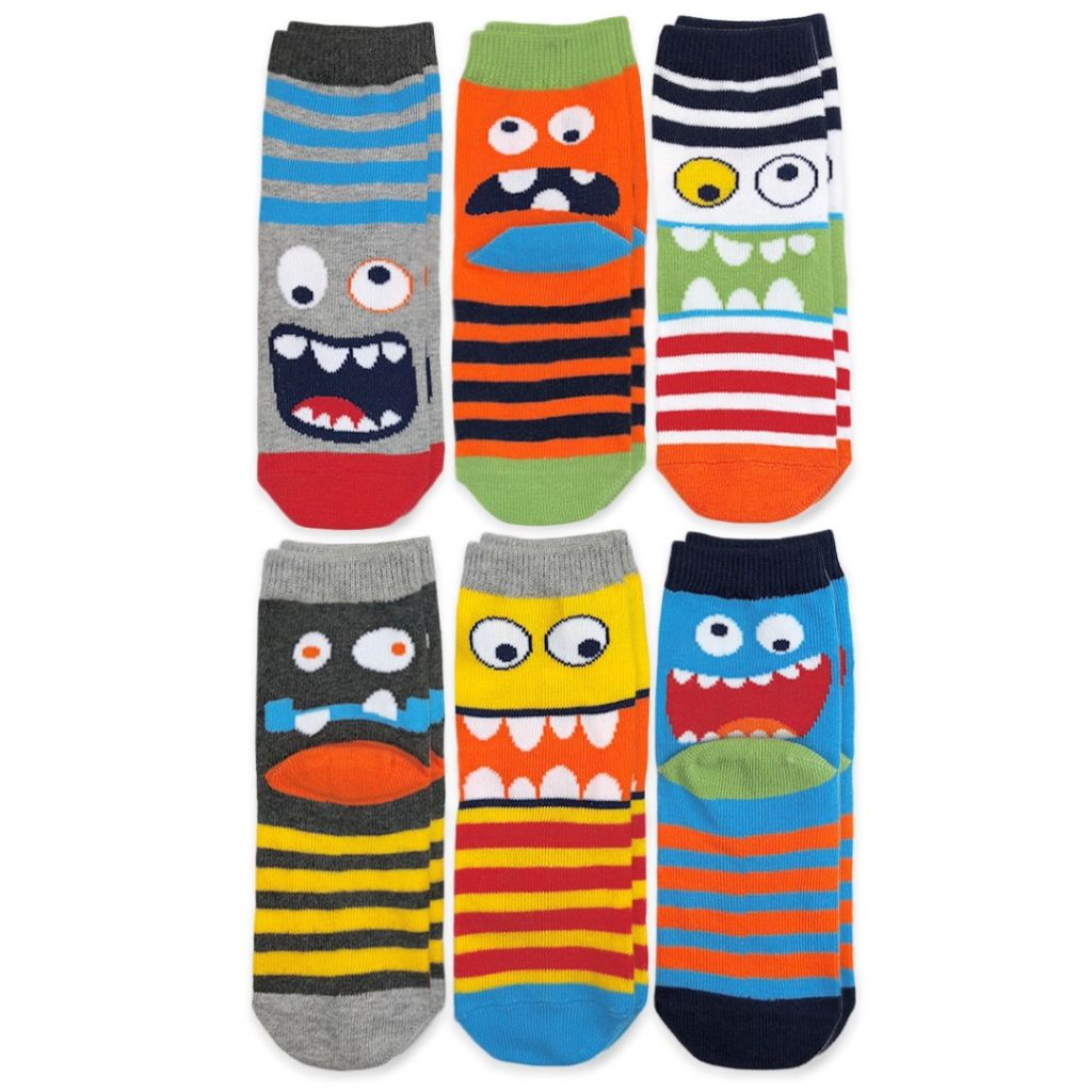 Happy Monster Crew Socks, 6 Pairs