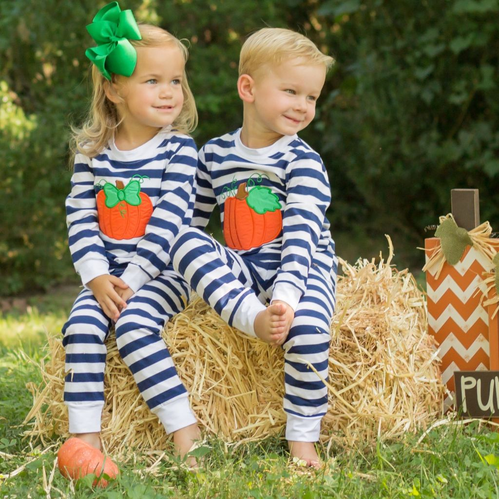 Matching Boy Girl Pumpkin Halloween Pajamas Loungewear
