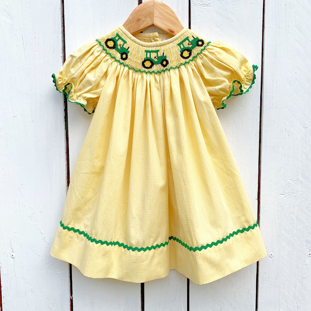 Girls Smocked Tractor Bishop Dress