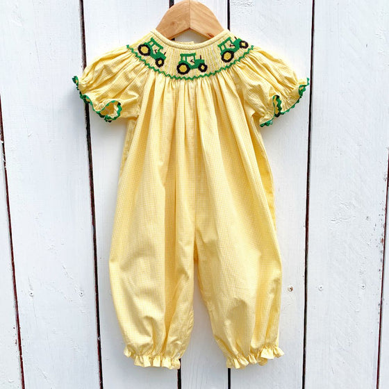 Girls Smocked Tractor Bubble Outfit