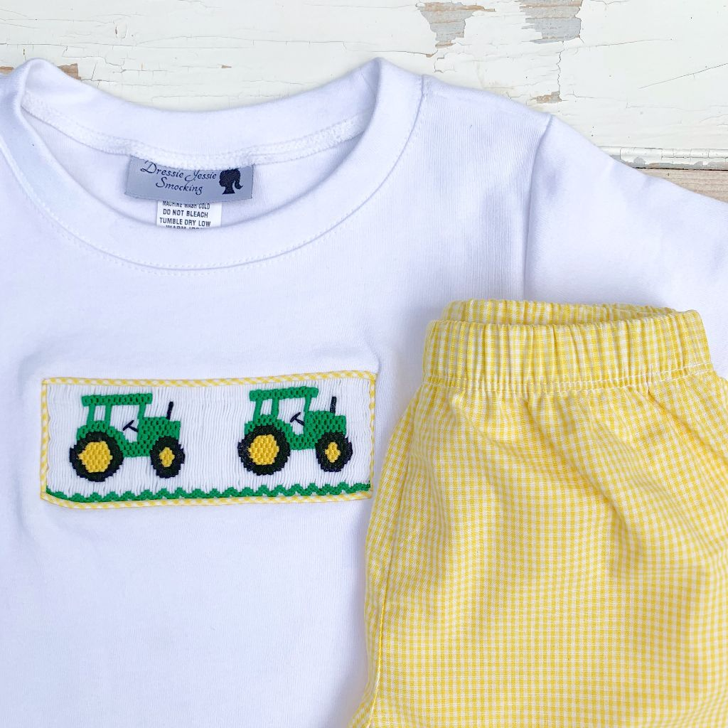 Boys John Deere Tractor Smocking Short Set