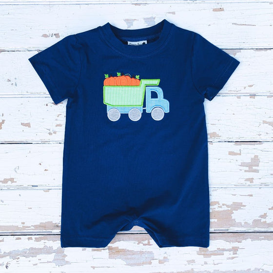 Baby Infant Toddler Boys Navy Knit Romper Dump Truck Pumpkin Applique
