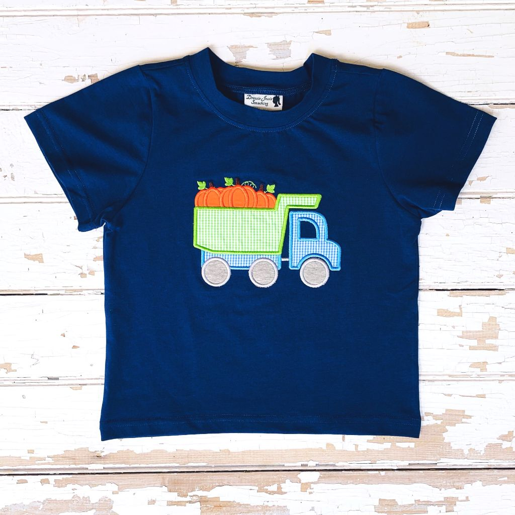 Boys Dump Truck Fall Pumpkin Applique Knit Shirt
