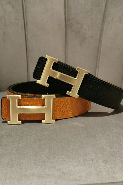 Reversible H Gold Belt