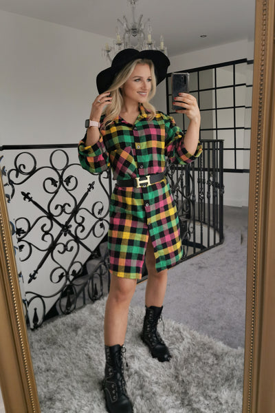 Multi Check Midi Shirt