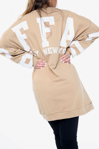 Buffalo Slogan Oversized Sweater - Stone