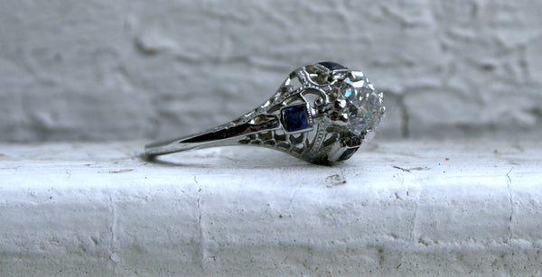 Amazing Vintage Filigree 18K White Gold Diamond and Sapphire Engagement Ring - 0.94ct.