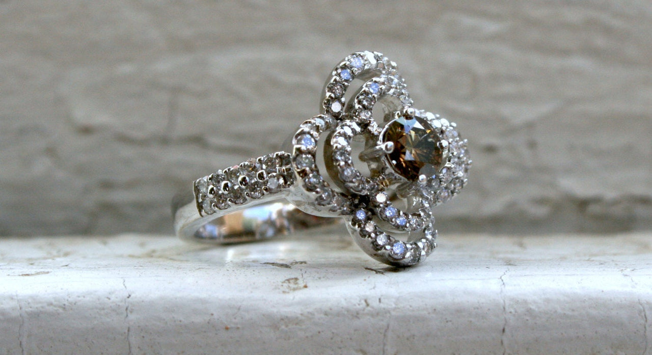 Vintage Floral Diamond and Cognac Diamond Ring Halo Engagement Ring in 14K White Gold - 1.76ct.