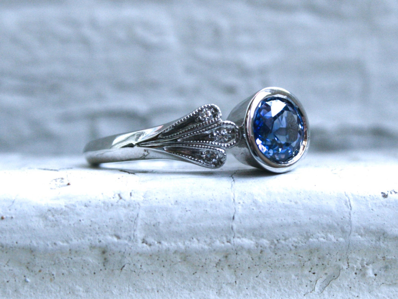 Vintage Inspired No Heat Sapphire Engagement Ring Wedding Ring with Leaves in 14K White Gold.