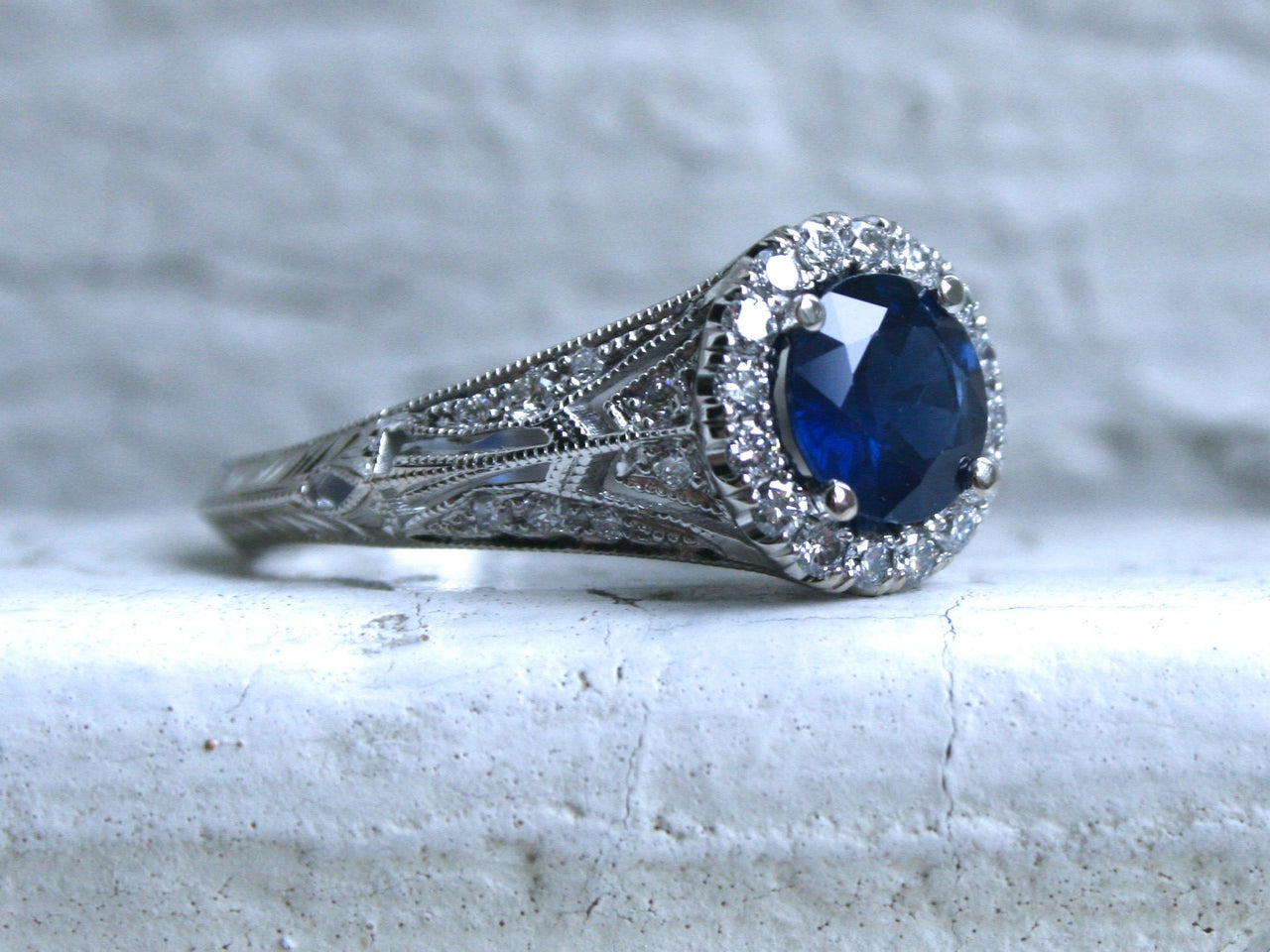 Vintage Inspired Halo Diamond and Natural Sapphire Ring Engagement Ring.