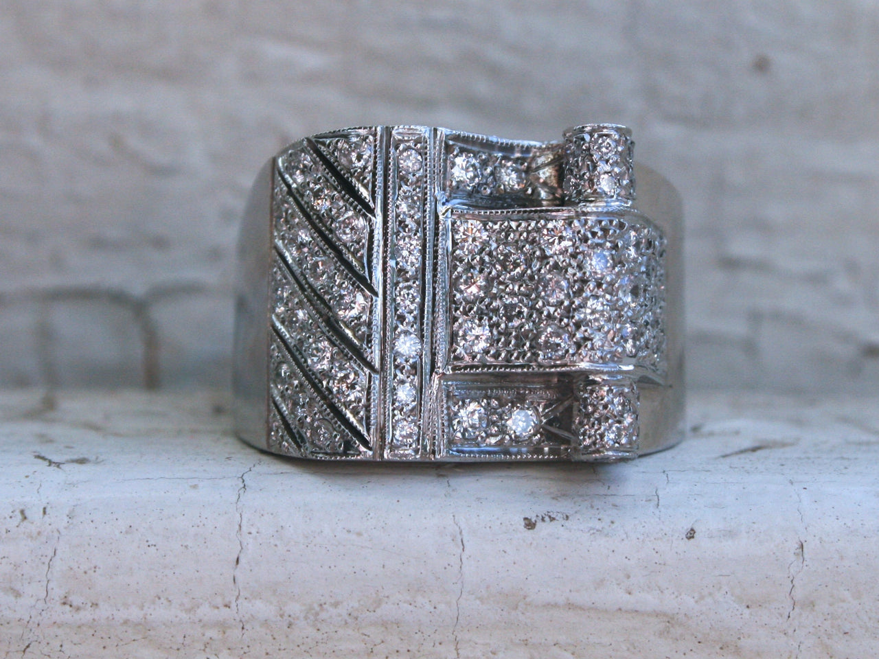 Platinum Vintage Art Deco Diamond Wedding Band Engagement Ring - 1.22ct.
