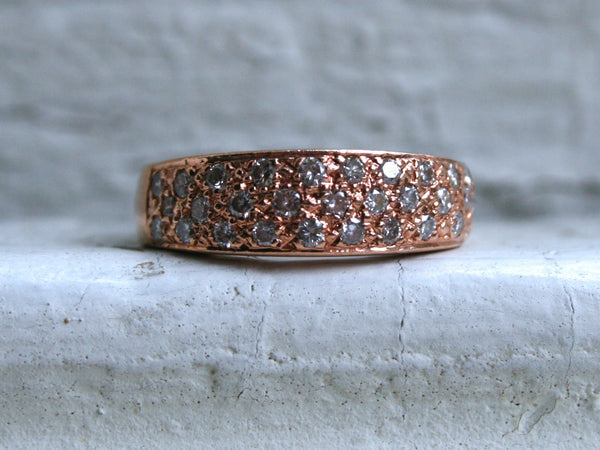 Fantastic Vintage 14K Rose Gold Three Row Pave Diamond Wedding Band- 0.60ct.