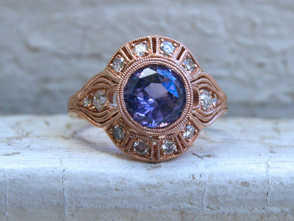 Vintage Inspired Diamond Halo Lavender Sapphire Engagement Ring Wedding Ring in 14K Rose Gold.