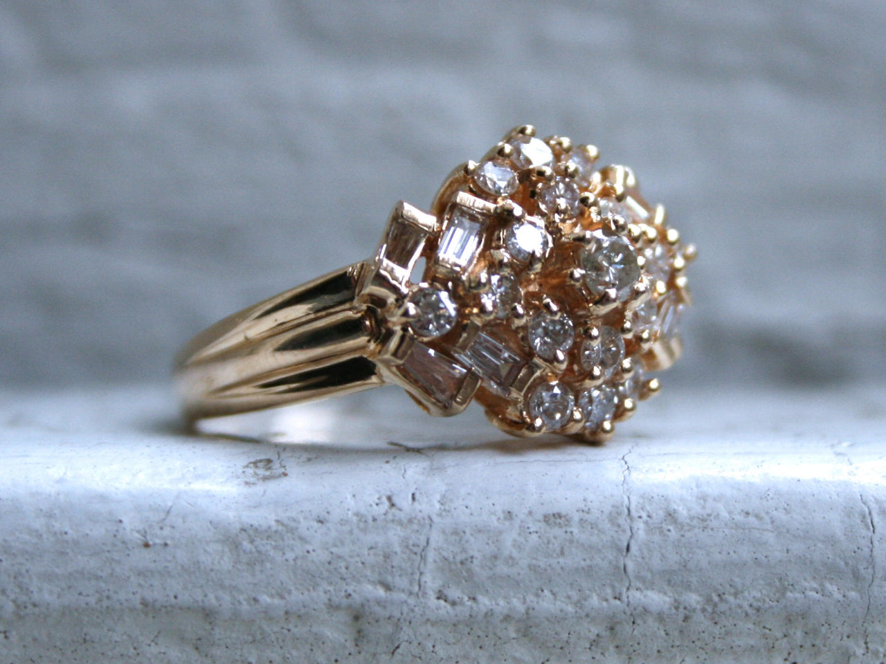 Fabulous Antique 14K Yellow Gold Diamond Cluster Engagement Ring - 1.00ct.