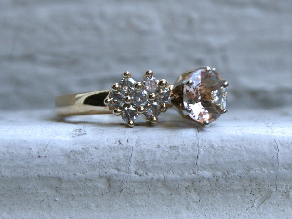 Gorgeous Vintage 14K Yellow Gold Morganite and Diamond Cluster Ring - 1.70ct.