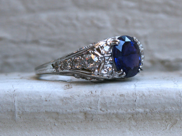 Stunning Platinum Diamond and Sapphire Engagement Ring with AGL certificate- 4.50ct.