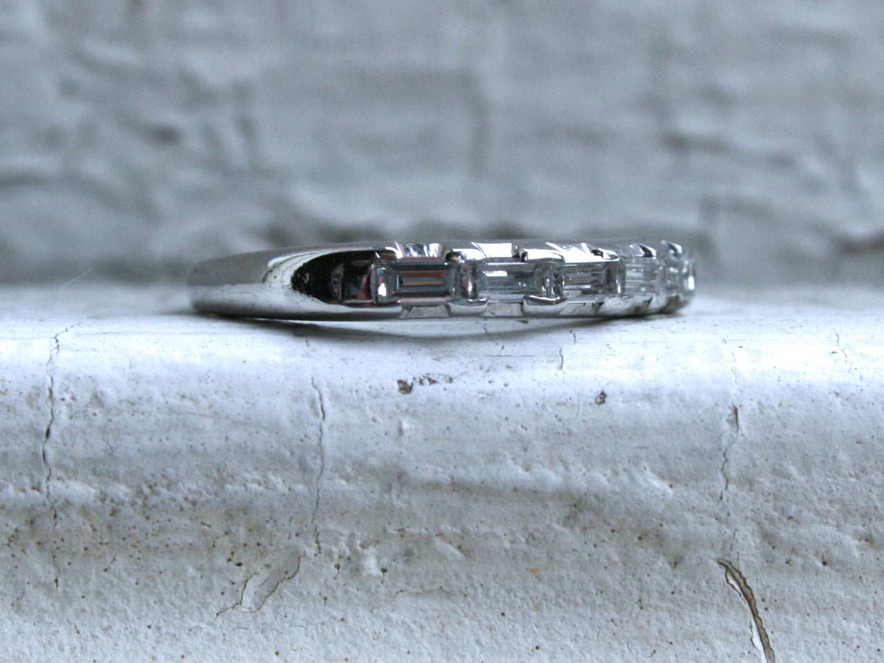 Awesome Vintage Platinum Baguette Cut Diamond Wedding Band - 0.25ct.