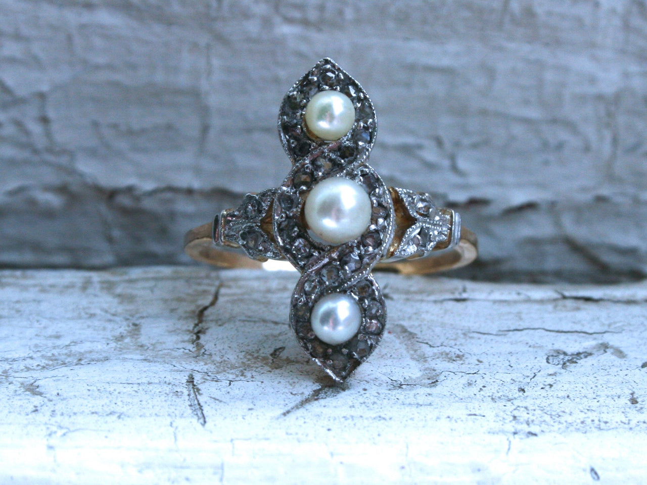 Gorgeous Leafy Antique Pearl and Diamond Ring Engagement Ring in 14K Yellow Gold.