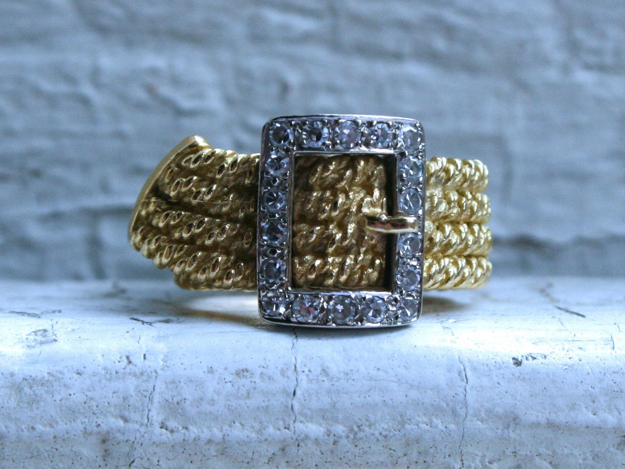 Vintage 18K White and Yellow Gold Diamond Buckle Rope Ring Band - 0.32ct.