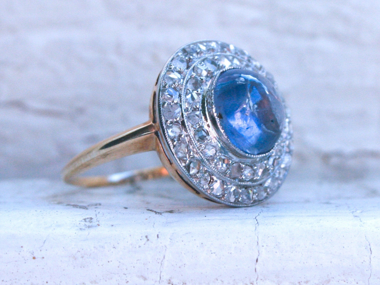 Beautiful Antique 14K Yellow Gold/ Platinum Diamond and Sapphire Cabochon Engagement Ring - 3.69ct.