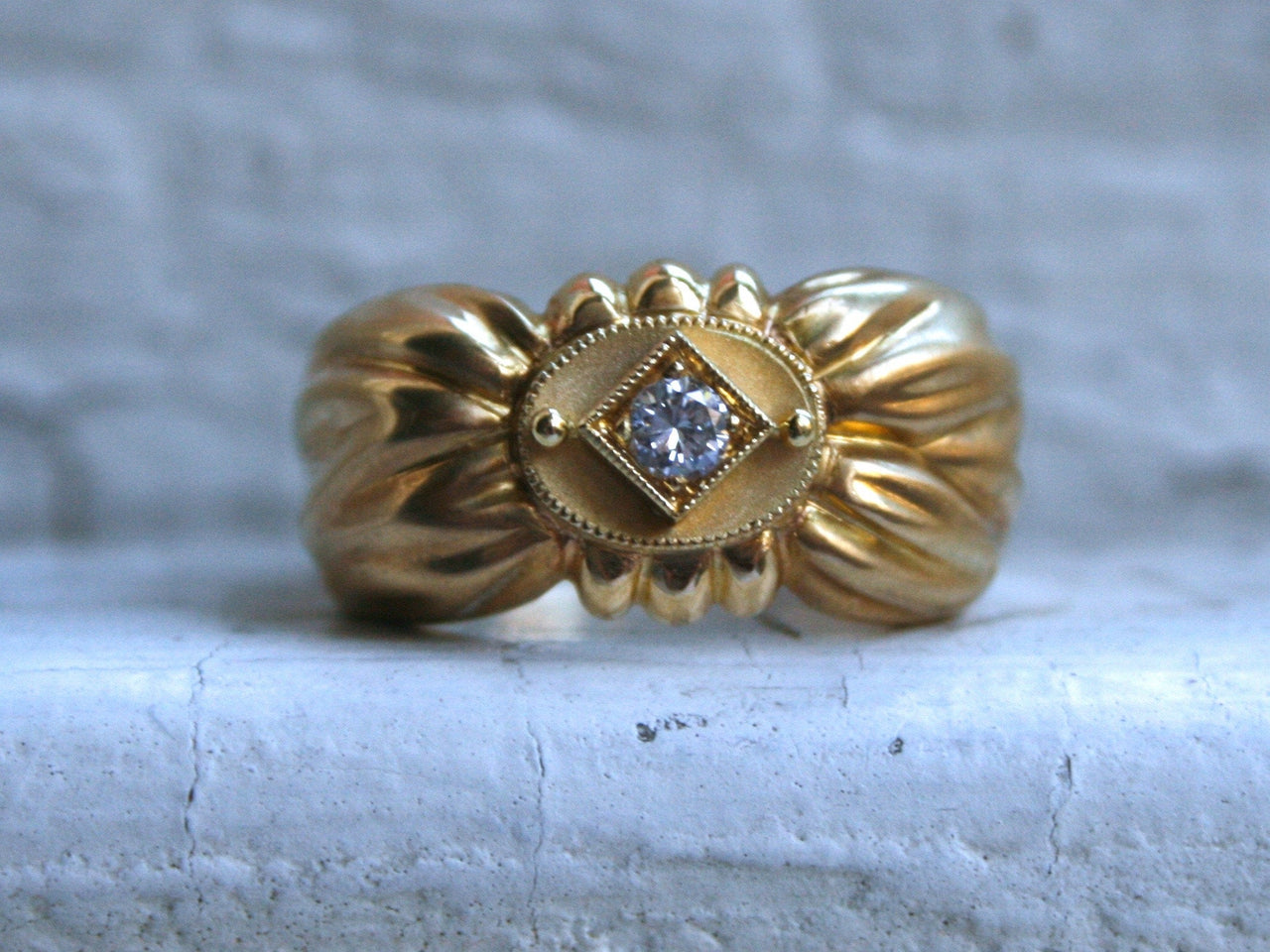 Awesome Vintage 18K Yellow Gold Diamond 'Bow' Ring by SeidenGang- 0.15ct.
