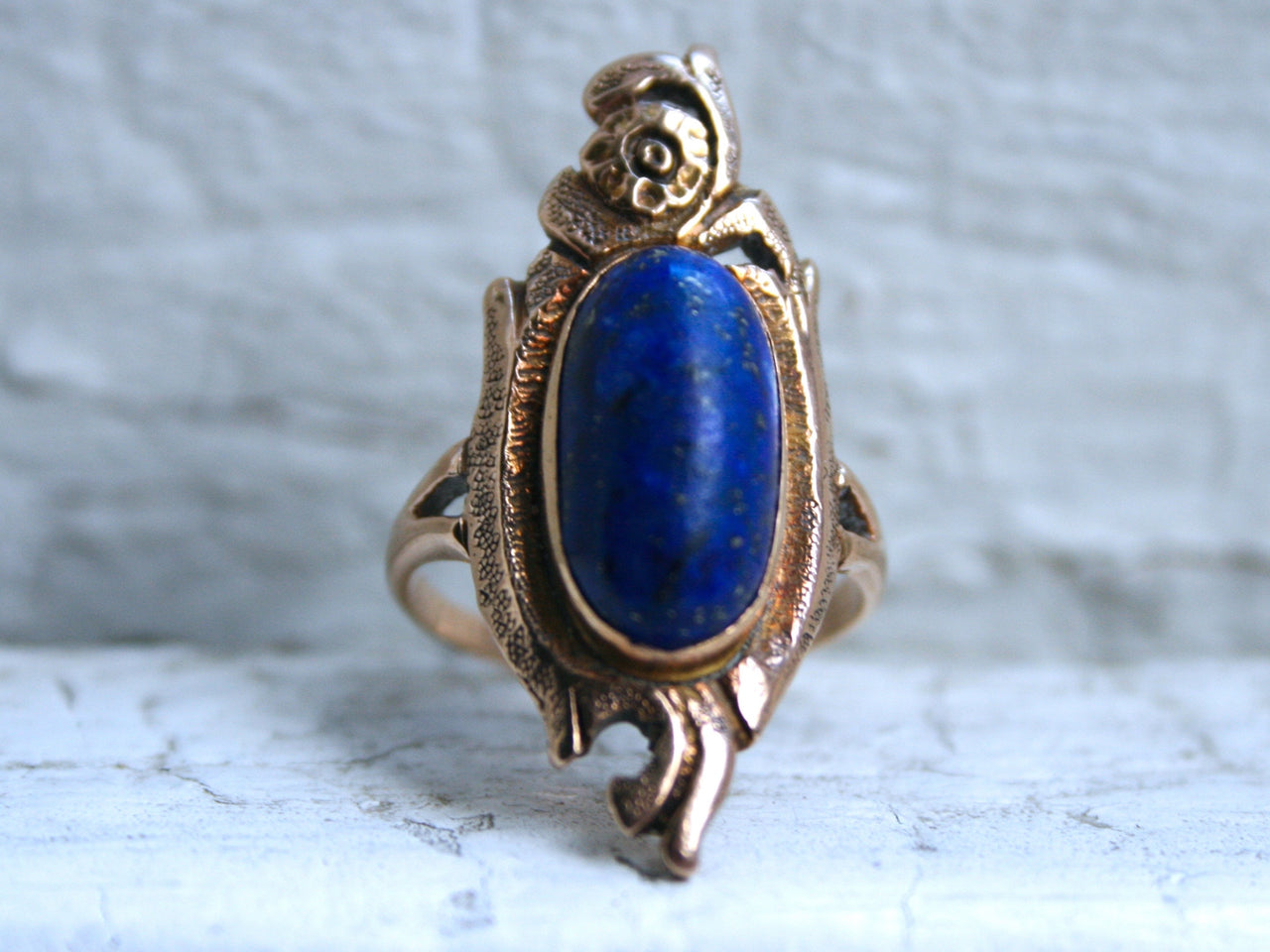Vintage Retro 14K Yellow Gold Lapis Ring.